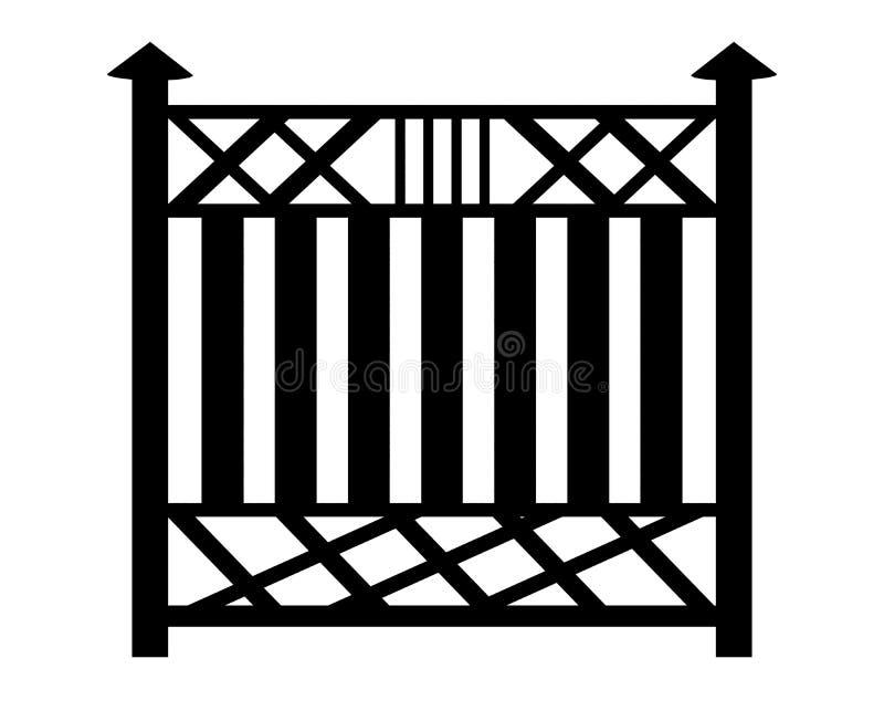 Schwarzer Entwurf eines Zauns Bild 3d auf weißem Hintergrund vektor abbildung