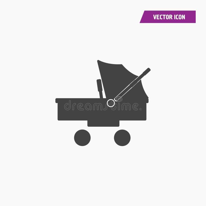 Schwarzer fester flacher Spaziergänger, Kinderwagenikone vektor abbildung