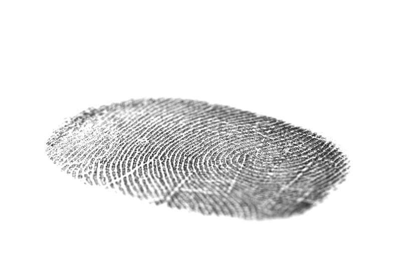 Schwarzer Fingerabdruck getrennt auf Weiß stockbilder