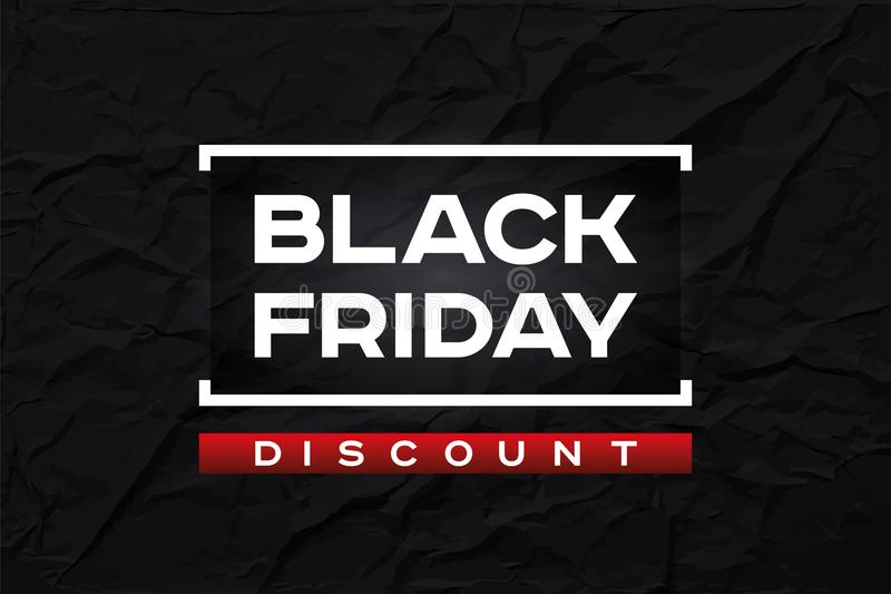 Schwarzer Freitag-Rabatt Dunkelheit knitterte Papierbeschaffenheit, schwarzen Hintergrund der Zusammenfassung Roter Akzent Vektor stock abbildung
