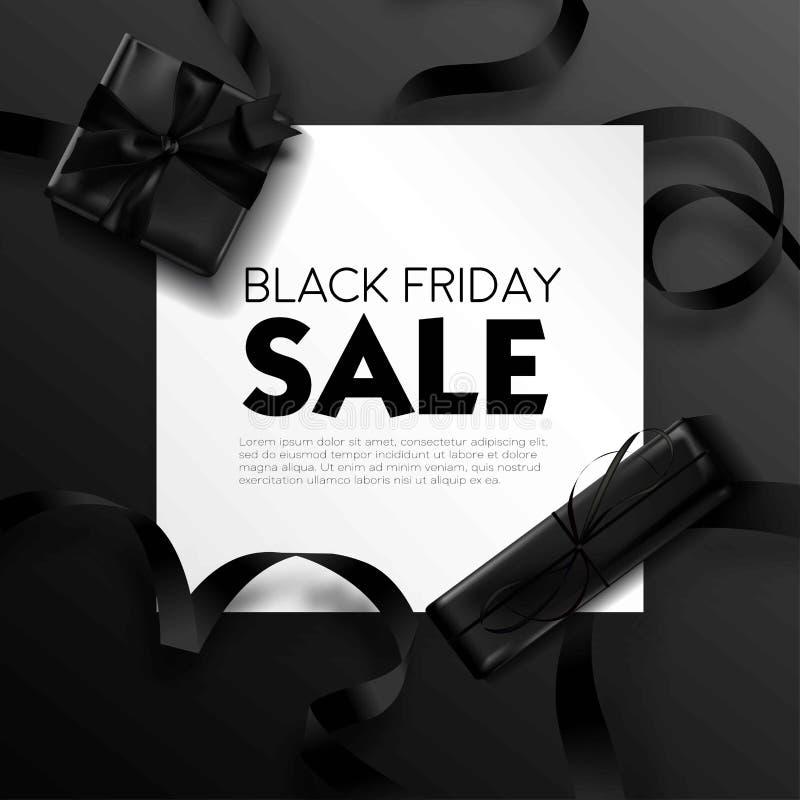 Schwarzer Freitag-Verkauf, Plakat mit Textprobe und Geschenke vektor abbildung