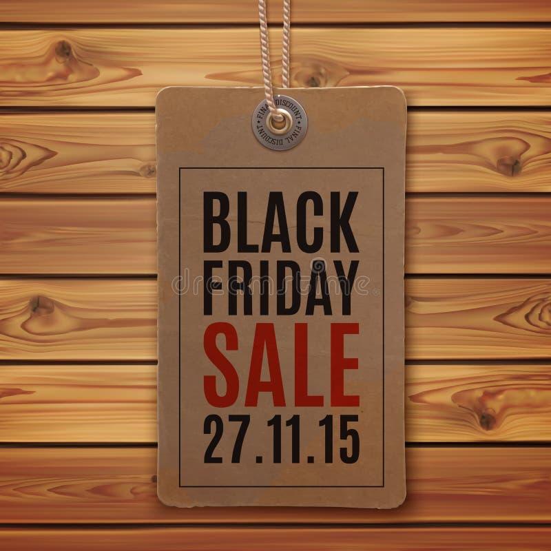 Schwarzer Freitag-Verkauf Preis auf hölzernen Planken lizenzfreie abbildung