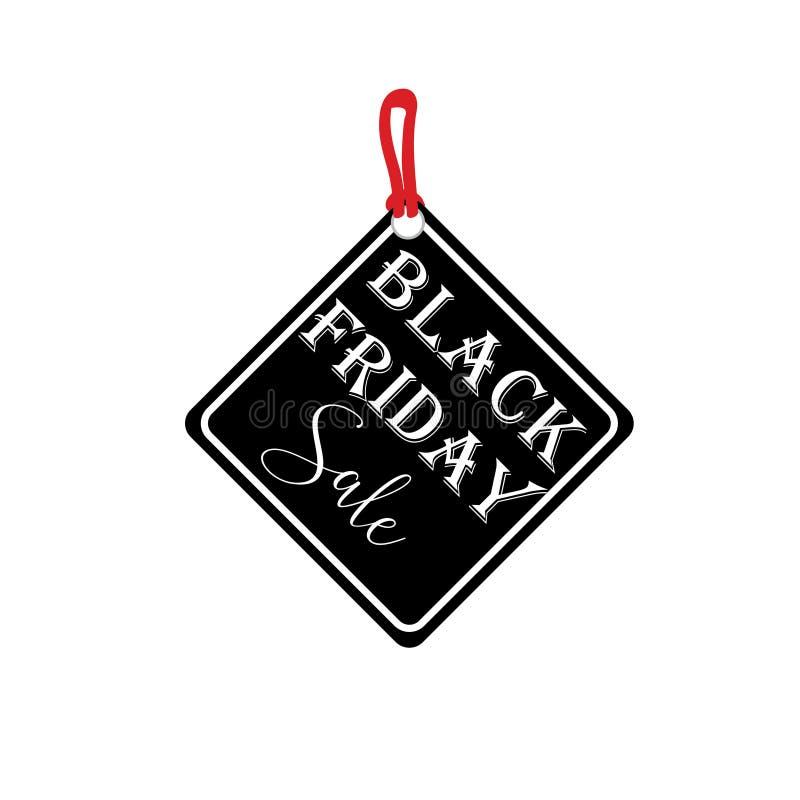 Schwarzer Freitag-Verkaufsaufkleber Vektoranzeigenillustration F?rderndes vermarktendes Rabattereignis lizenzfreie abbildung