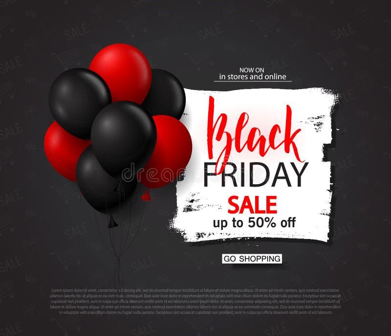 Schwarzer Freitag-Verkaufshintergrund mit Ballonen Moderne Auslegung Universalvektorhintergrund für Plakat, Fahnen, Flieger, Kart lizenzfreie abbildung