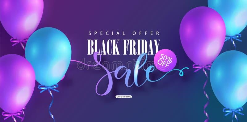 Schwarzer Freitag-Verkaufshintergrund mit farbigen Ballonen Moderne Auslegung Universalvektorhintergrund für Plakat, Fahnen stock abbildung