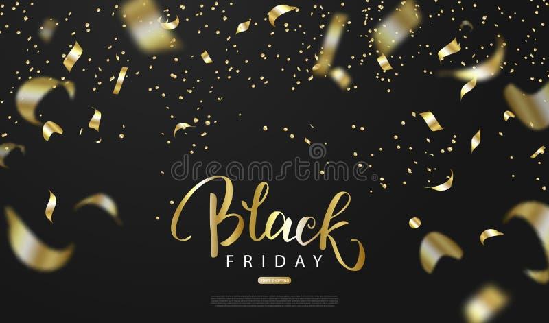 Schwarzer Freitag-Verkaufshintergrund mit Goldserpentin Moderne Auslegung Universalvektorhintergrund für Plakat, Fahnen, Flieger lizenzfreie abbildung