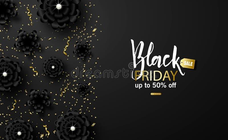 Schwarzer Freitag-Verkaufshintergrund mit schönen schwarzen Blumen und Gold zacken Moderne Auslegung Universalvektorhintergrund stock abbildung