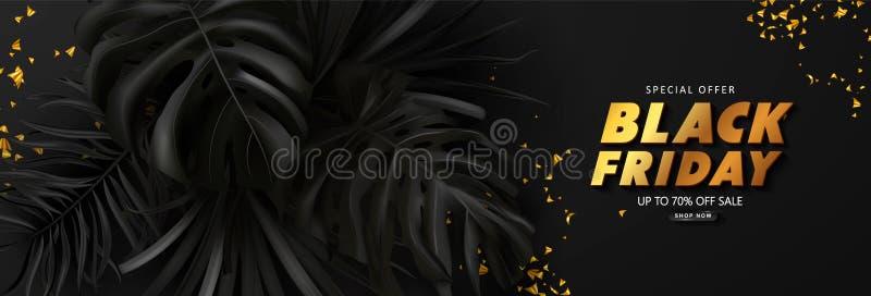 Schwarzer Freitag-Verkaufshintergrund mit tropischen Blättern Modernes Luxusdesign Universalvektorhintergrund f?r Plakat, Fahnen lizenzfreie abbildung