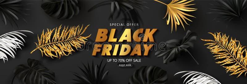 Schwarzer Freitag-Verkaufshintergrund mit tropischen Blättern Modernes Luxusdesign Universalvektorhintergrund f?r Plakat, Fahnen stock abbildung