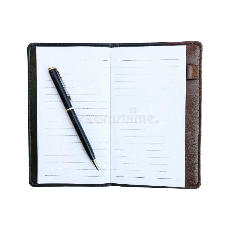schwarzer Geschäftsstift auf Notizbuch mit dem ledernen Kasten lokalisiert auf whi stockfotos