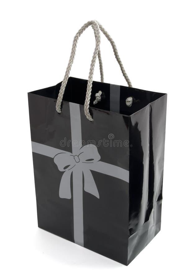 Schwarzer Geschenkbeutel lizenzfreie stockfotografie