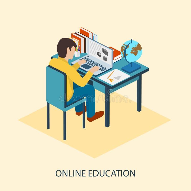 Schwarzer Hahn auf einem Weiß Studenten werden online unterrichtet stock abbildung