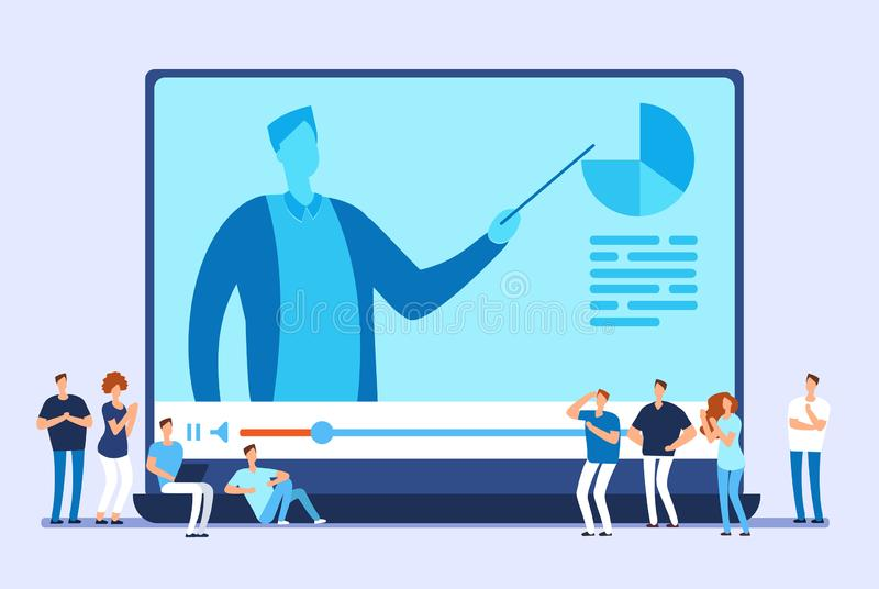 Schwarzer Hahn auf einem Weiß Videotutorien, Internet-Training und Netz kursieren Vektorkonzept vektor abbildung