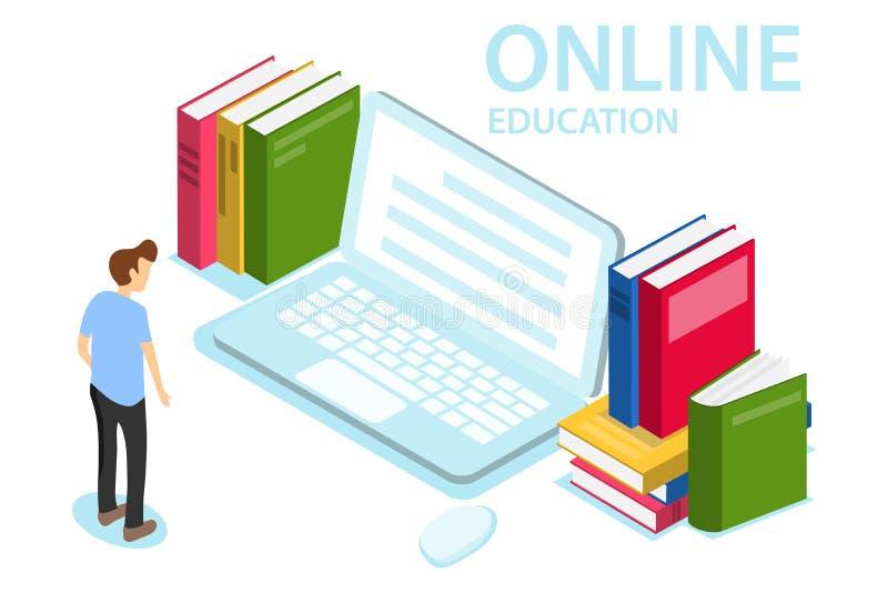 Schwarzer Hahn auf einem Wei? Das Konzept der on-line-Ausbildung, Training, Kurse Ein Mann betrachtet den Laptop stock abbildung