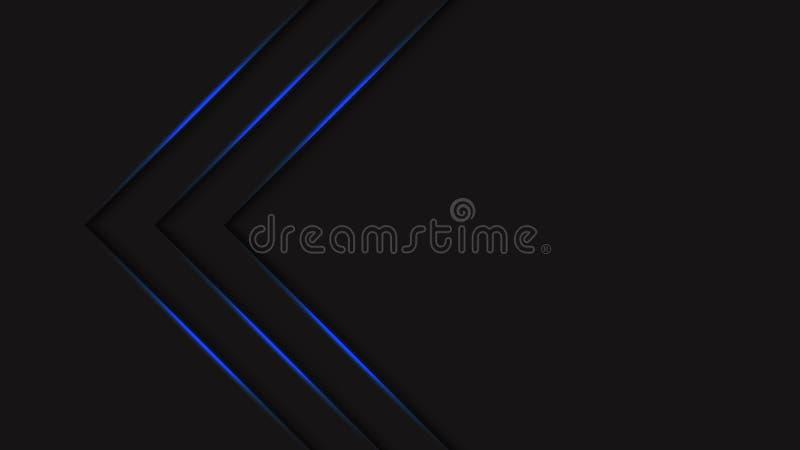 Schwarzer Halbtonhintergrund der futuristischen Zusammenfassung mit blauen hellen Neonpfeilen der Steigung Kreative Abdeckungsent lizenzfreie abbildung