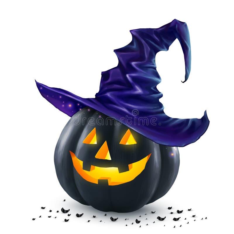 Schwarzer Halloween-Vektorkürbis mit dem inneren Tragen des orange Lichtes im dunkelblauen Hexenhut vektor abbildung