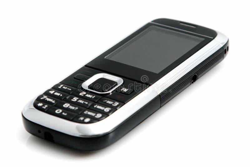 Schwarzer Handy getrennt auf Weiß. stockbild
