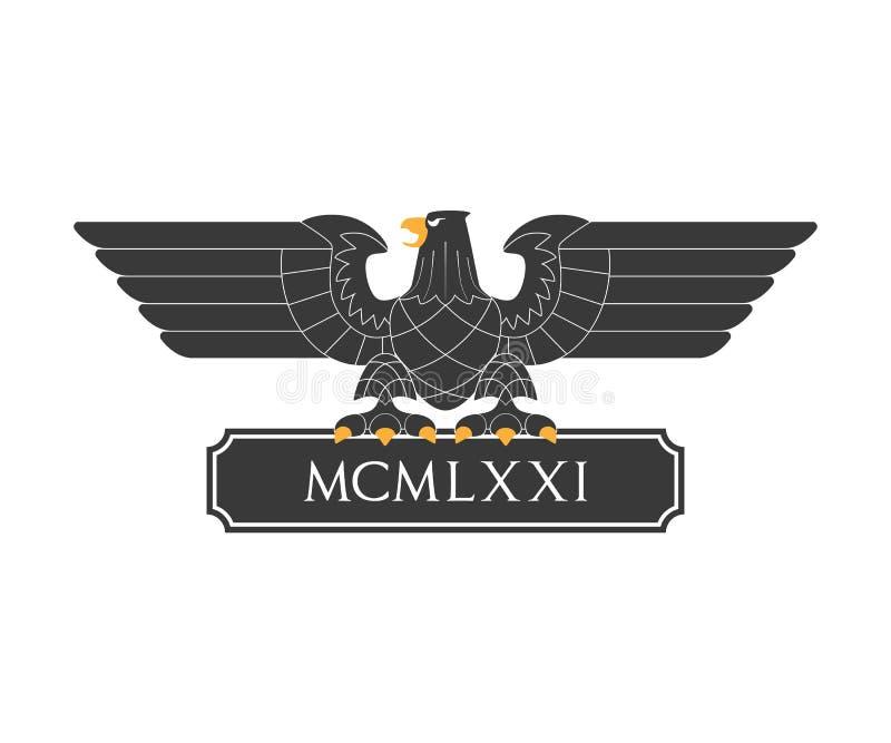 Schwarzer heraldischer Adler lizenzfreie abbildung