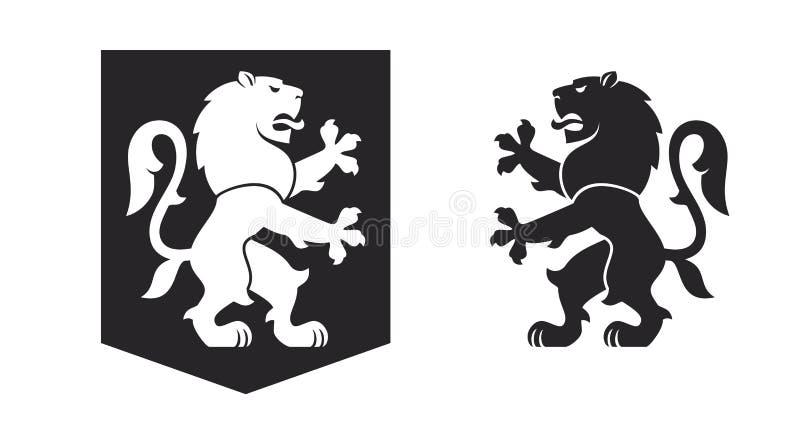 Schwarzer heraldischer zügelloser Löwe lizenzfreie abbildung