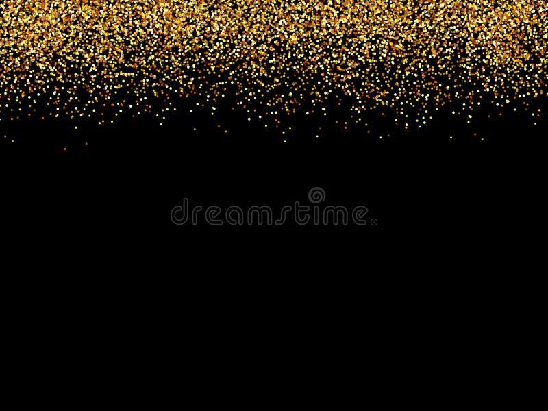 Schwarzer Hintergrund der abstraktes Goldfunkelnder Sterne goldene Funkelnbeschaffenheit vektor abbildung