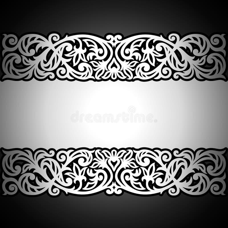 Schwarzer Hintergrund der Weinlese, Antike, silberne Verzierung des Victorian lizenzfreie abbildung