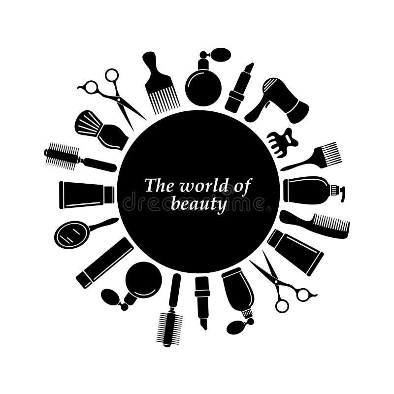 Schwarzer Hintergrund des Friseursalons mit Platz für Text stock abbildung