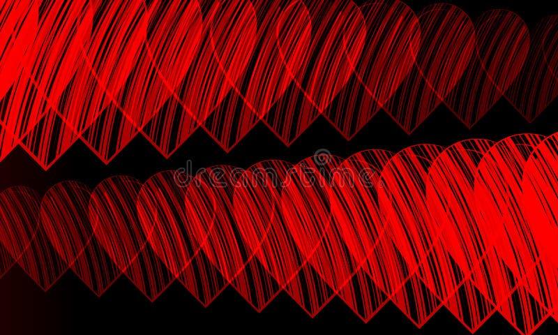 Schwarzer Hintergrund des roten Herzens vektor abbildung