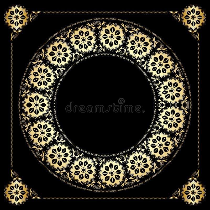 Schwarzer Hintergrund mit goldenem Blumenrahmen stock abbildung