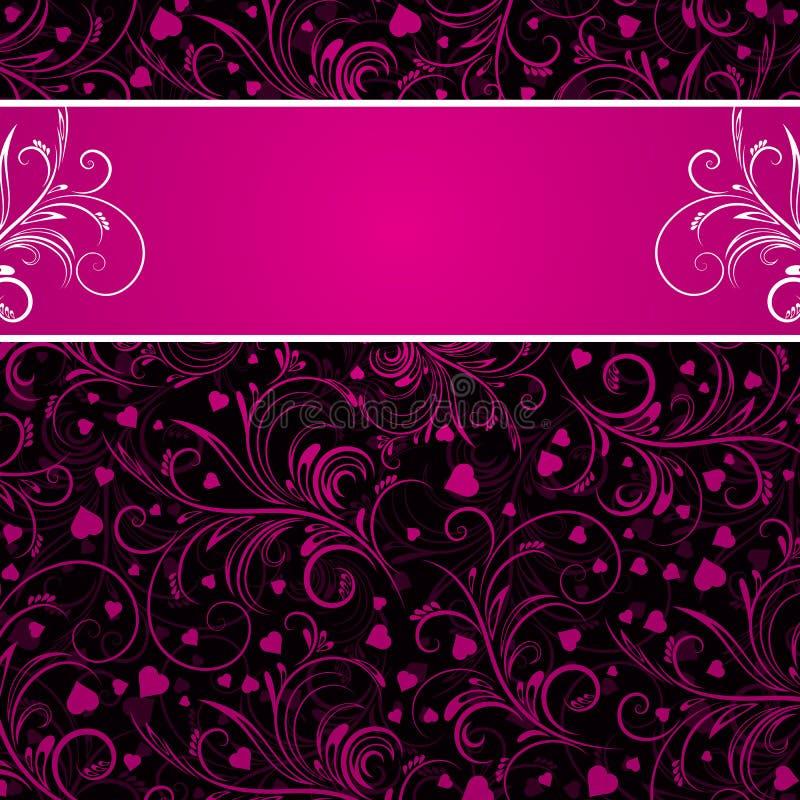 Schwarzer Hintergrund mit rosafarbenen dekorativen Verzierungen vektor abbildung