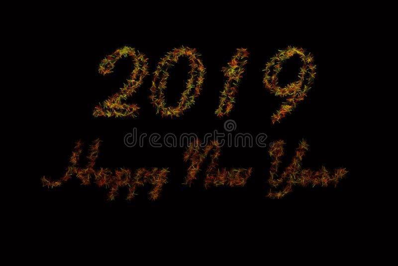 Schwarzer Hintergrundartikel 2019 Rotes und grünes 2019 neues Jahr auf des schwarzen Hintergrundes Guten Rutsch ins Neue Jahr-Kar stockbilder