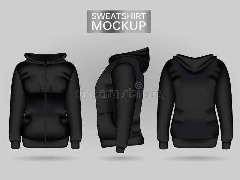 Schwarzer Hoodie das Sweatshirt der Frauen des freien Raumes in der Front, in der Rückseite und in den Seitenansichten Realistisc stock abbildung