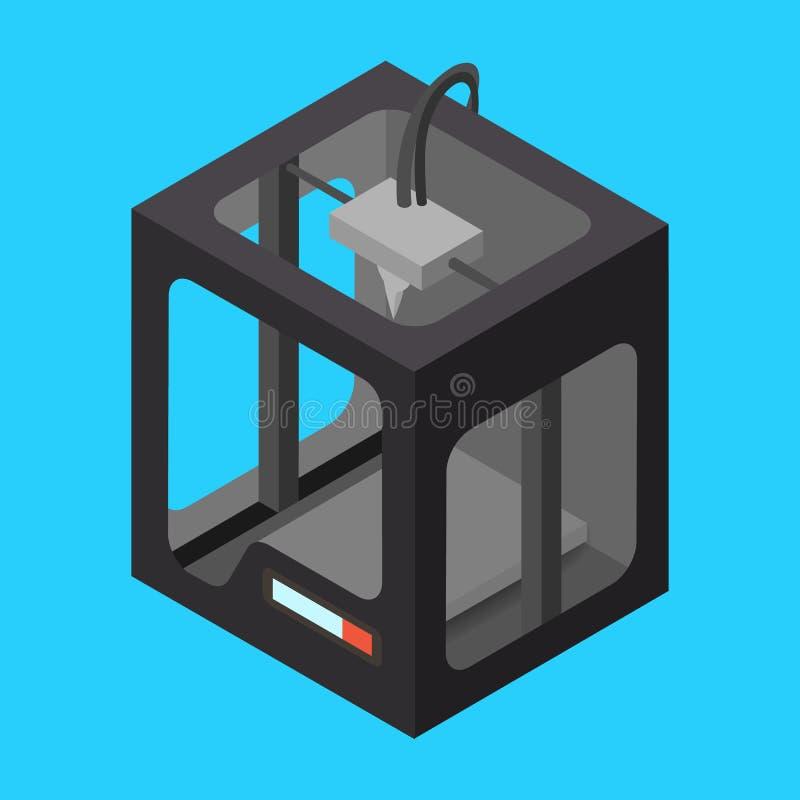 Schwarzer isometrischer Drucker 3D auf einem blauen Hintergrund lizenzfreie abbildung