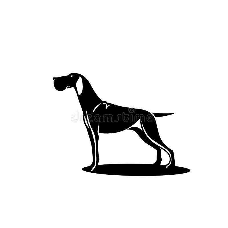 Schwarzer Jagdhund mit Schatten vektor abbildung