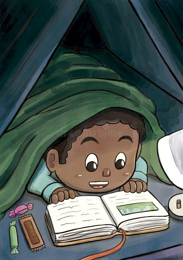 Schwarzer Junge, der unter der umfassenden Lesung ein Bilderbuch versteckt stock abbildung