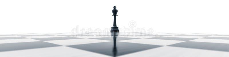 Schwarzer König auf einem Schachbrett lizenzfreie abbildung