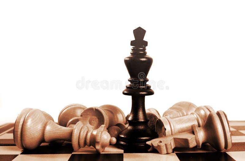 Schwarzer König gewinnt Sepia stockfoto