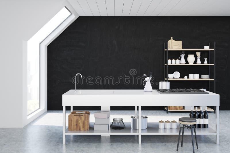Schwarzer Kücheninnenraum stock abbildung