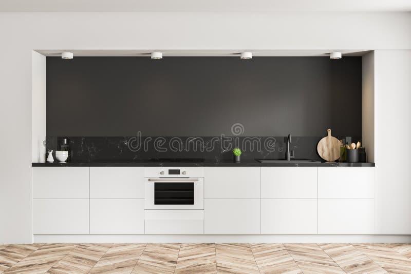 Schwarzer Kücheninnenraum, weiße Countertops vektor abbildung