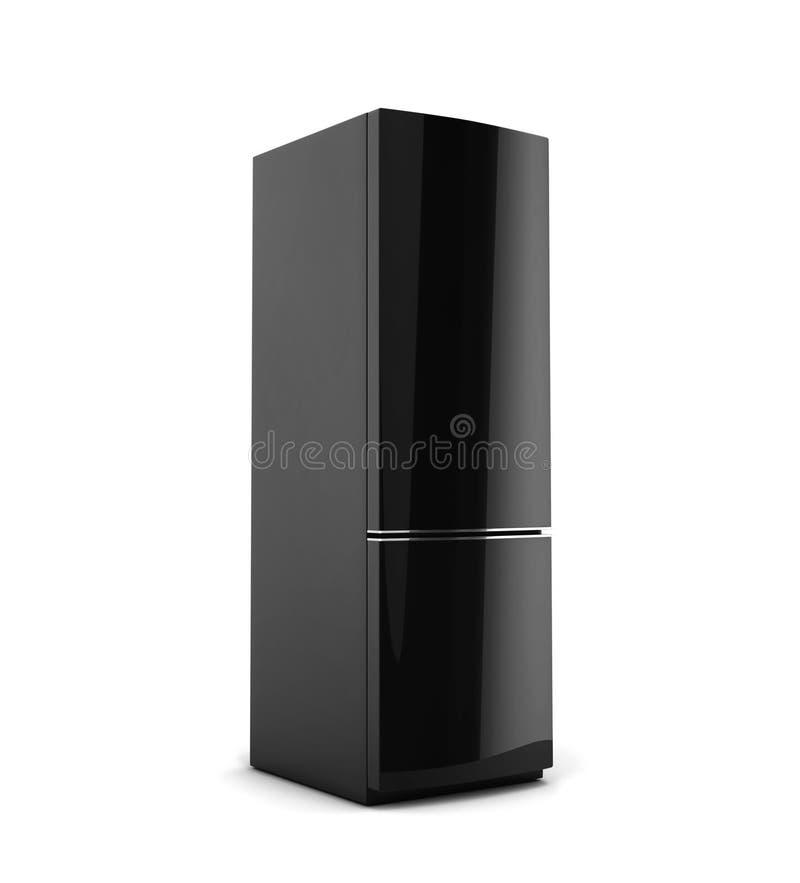 Schwarzer Kühlschrank Lokalisiert Auf Weiß Stock Abbildung ...