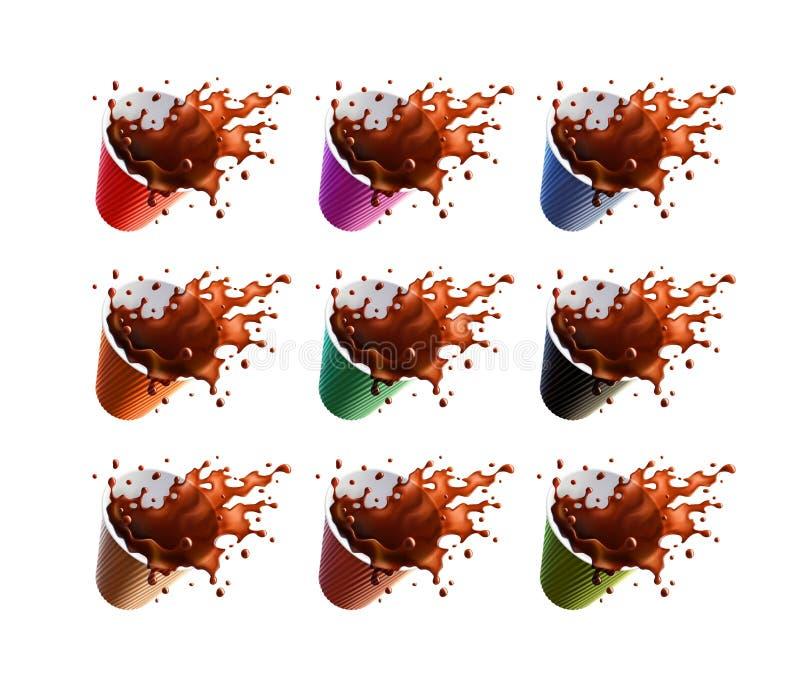Schwarzer Kaffee-Spritzen eine in den Plastikkräuselungs-Schalen lokalisiert auf einem weißen Hintergrund 9 Farbveränderungen lizenzfreie abbildung