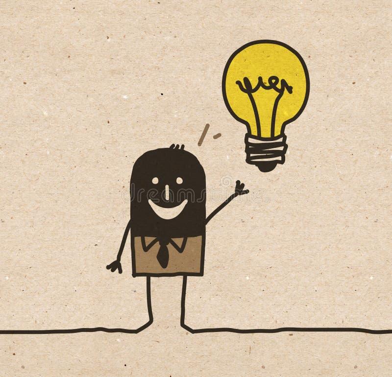 Schwarzer Karikatur Geschäftsmann, der eine Idee hat lizenzfreie abbildung
