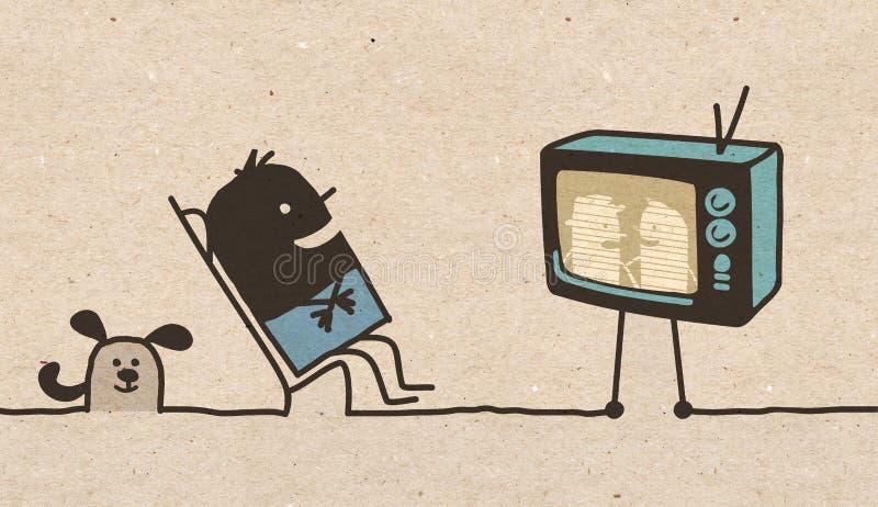 Schwarzer Karikatur Mann, der fernsieht stock abbildung