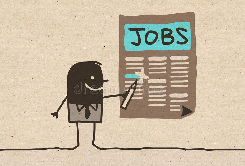 Schwarzer Karikatur Mann, der nach einem Job sucht vektor abbildung