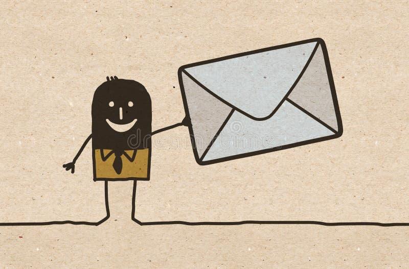 Schwarzer Karikatur Mann mit großem verschickendem Umschlag lizenzfreie abbildung