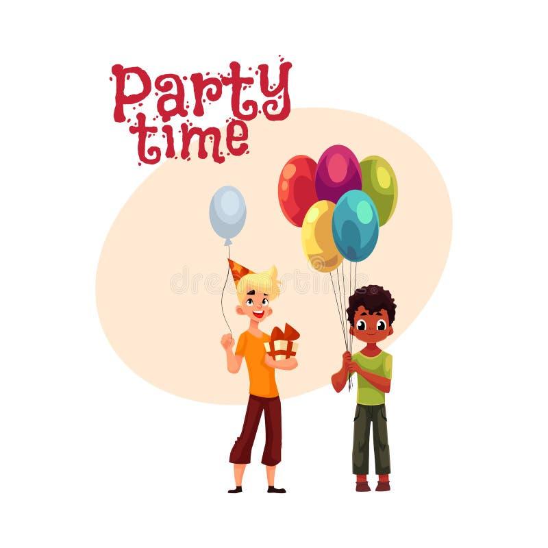 Schwarzer kleiner Junge mit Ballonen, kaukasischer Jugendlicher, der Geburtstagsgeschenk hält lizenzfreie abbildung