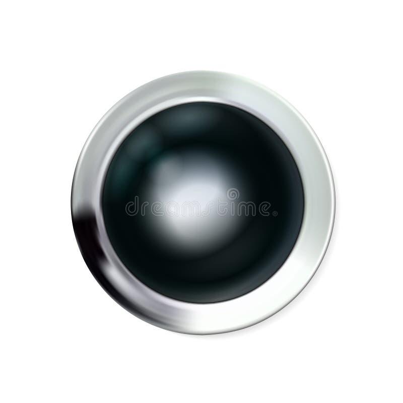 Schwarzer Knopf des glatten realistischen Chroms silbrig Geometrische Ikonentechnologie des Kreises mit Schatten, Edelstahl für L vektor abbildung