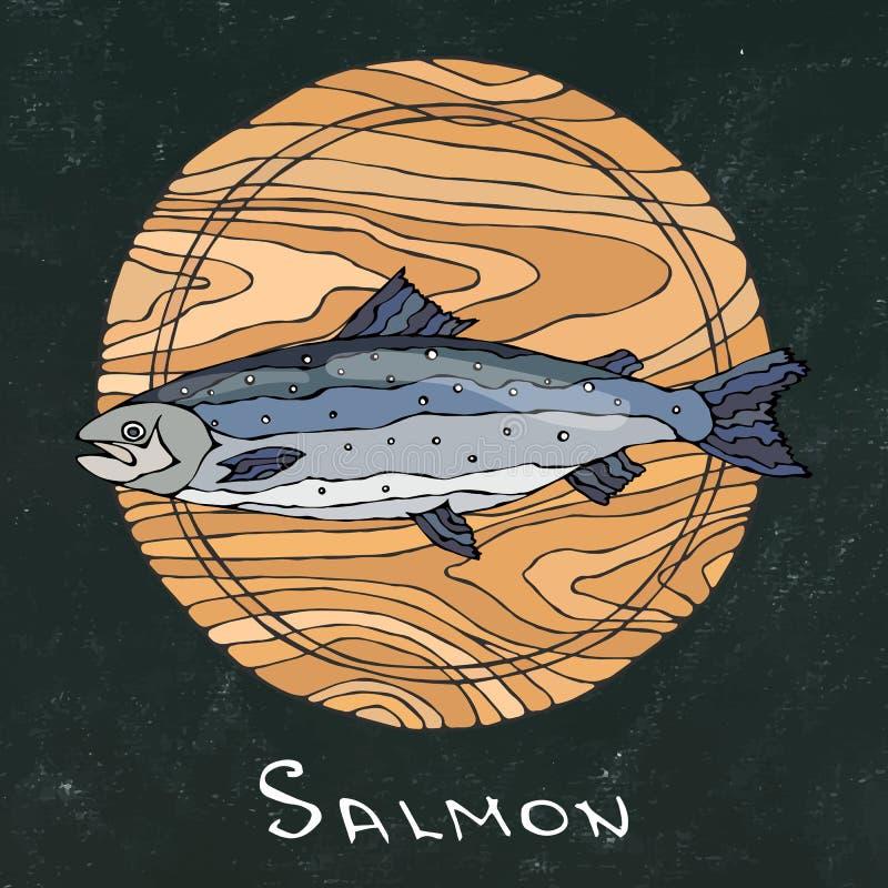 Schwarzer Kreidebretthintergrund Ganzer roher Salmon Fish auf rundem Schneidebrett Für das Kochen Feiertags-Mahlzeiten, Rezepte,  vektor abbildung