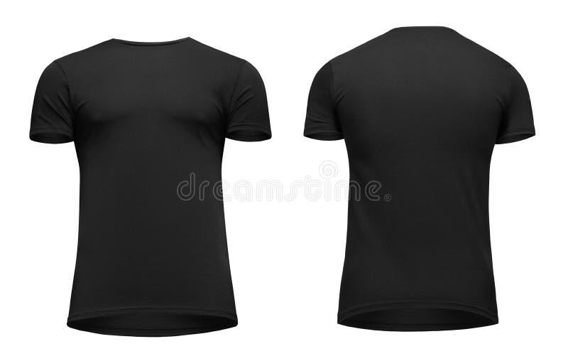 Schwarzer kurzer Ärmel T-Shirt der leeren Schablonenmänner, Front und hintere Ansicht Bottom-up, lokalisiert auf weißem Hintergru lizenzfreie stockfotos