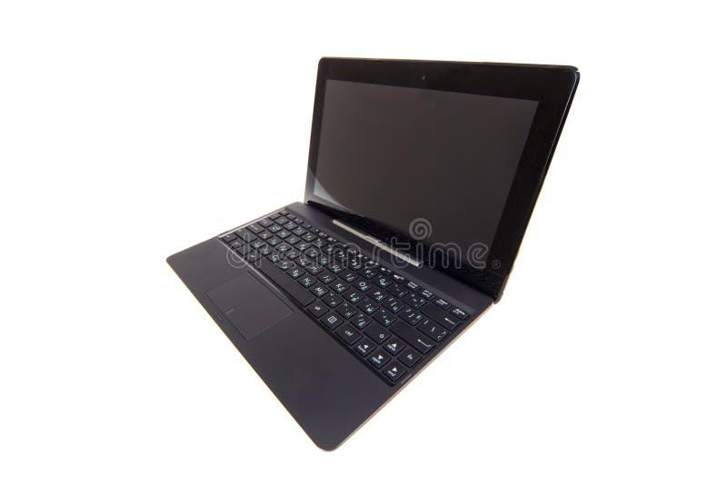 Schwarzer Laptop getrennt auf Weiß lizenzfreie stockfotos