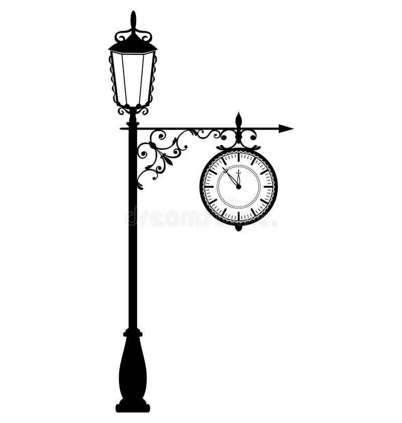 Schwarzer Laternenpfahl der Weinlese mit der Uhr lokalisiert auf Weiß vektor abbildung
